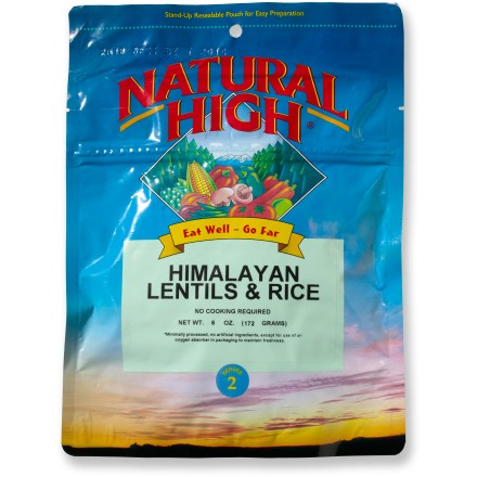 Camp and Hike The Richmoor Natural High Himalayan Lentils and Rice meal features a sweet and savory blend of spices mixed with vegetables, fruit, black beans, lentils and rice. Meatless meal serves 2. Easy to prepare-just add boiling water, let stand and serve. Nutrition facts displayed here and on packaging may differ; information on packaging reflects actual contents. *Discount will be applied when you check out. Offer not valid for sale-price items ending in $._3 or $._9. - $4.93
