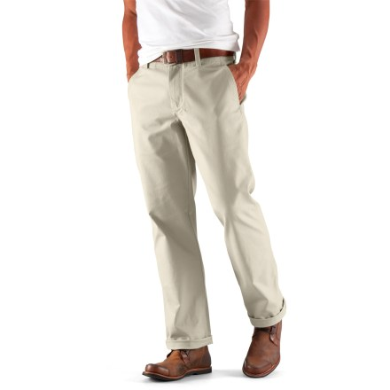 Look good at the office or on a stroll through town with the classy Nau People's Chino pants. Organic cotton is combined with a touch of spandex for great comfort during everyday wear. Front slash pockets and 2 rear drop-in pockets stow your necessities. Pants include a zipper fly and a button at the waist; flat front. 30 in waist size has a 32 in. inseam; 32 in. waist size has a 33 in. inseam; 34 in. and 36 in. waist sizes have 34 in. inseams; 38 in. waist size has a 35 in. inseam. The Nau People's Chino pants have a relaxed fit. - $51.83