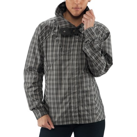 The perfectly plaid Nau Gust jacket is brimming with sophistication and style. Smooth, recycled polyester fabric is treated with a Durable Water Repellent finish to repel moisture and stains. Gust jacket has a shawl collar for style. 2 zippered hand pockets, 1 zippered chest pocket. - $85.83