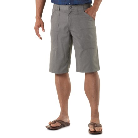 Wander around town on a sunny summer day with the comfortable Nau Amble shorts. Recycled polyester/organic cotton blend is the perfect weight for spring and summer; polyester speeds the drying time of the shorts. 2 front hand pockets and 2 rear pockets with button flaps stow your everyday necessities. The Nau Amble shorts have a regular fit. - $79.93