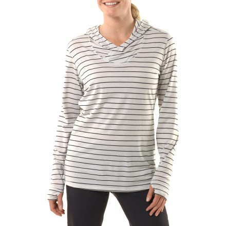 The Nau M2 Hoodie provides 3 fabulous features-modern stripes, a contoured neckline and soft, fine-guage merino wool. They all come together in this ideal summer layer for taking off the chill. Fine-gauge, midweight merino wool jersey offers insulation and breathability in a plush fabric that's soft next to skin. Naturally odor-resistant and never itchy, this fine-quality merino fabric is inherently durable and warm even when wet. Casual hood offers additional warmth on cold days. Crossover neckline offers a soft, flattering fit. Nau M2 hoodie features a regular fit. Turn hoodie inside out, machine wash cold and line dry. - $35.83
