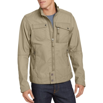 With its industrial look and weather-resistant waxed cotton finish, the Nau Rift jacket is ready for urban adventures in cool weather. Synthetic wax finish on the organic cotton exterior helps the jacket shed water and block wind. 2 zippered hand pockets, 1 rip-and-stick/snap pocket on the right chest and a dual-access snap pocket and zippered pocket on the left chest offer up plenty of storage space. Wind flap behind the front zipper keeps the weather out. Use the snap tab on the collar for increased neck coverage. Machine wash cold, line dry. The Nau Rift jacket has a slim fit. - $126.83