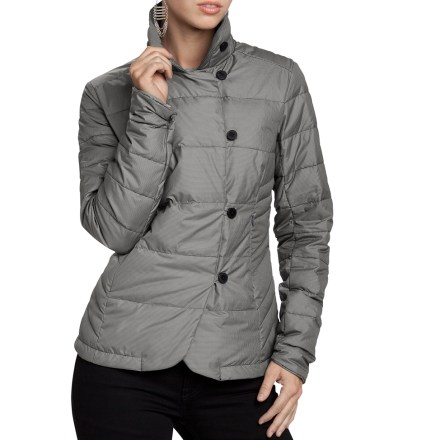 The Nau Check Down blazer evokes a strong blazer-meets-jacket feeling that blurs the line between a business blazer and an insulated layer against the elements. Designed with an eye to the unique curves of a women's body, the Nau Down blazer is low bulk and has a luxurious, soft sheen micro-check fabric. Premium 800-fill-power goose down is extremely compressible and offers exceptional warmth for its weight. Fabric is treated with a Durable Water Repellent finish to repel moisture and stains. Asymmetric 4-button front; blazer has a slimming effect that is accentuated when the collar is buttoned up. Shaped sleeve hems for a stylized look. Hand pockets feature hidden zippers. Regular, flattering fit. - $156.93