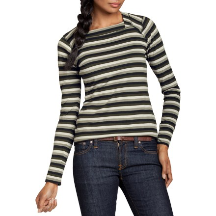 The Conflux Stripe shirt from Nau is incredibly comfortable and soft-to-the touch, and features a beautiful neckline that complements any body. Made from certified 100% organic cotton for breathable comfort and easy care. Details include crossover neckband and wide, self-fabric cuffs. Flatseam construction adds durability and comfort. Regular fit is not too tight and not too loose; it's just right. Machine wash cold and line dry. - $32.83