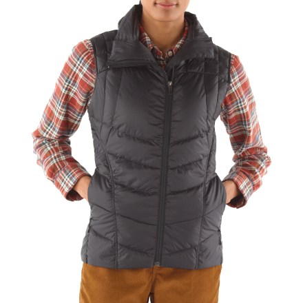 The Nau Down Vest features premium goose down insulation for superb core warmth in a sleek, tailored design. It delivers ultralight warmth without the bulk. Recycled shell and lining, made from downproof ripstop polyester, offers a smooth, ultrafine hand and durability; plus it's snag resistant. Nothing matches 850-fill-power goose down for its warmth-to-weight ratio, making this highly packable jacket extremely warm despite its low bulk. Fabric is treated with a Durable Water Repellent finish to repel moisture and stains. Offset, watertight front zip with windflap seals out the elements. Features zip hand pockets. Nau Down Vest offers a low-profile, regular (yet feminine) fit. - $107.93