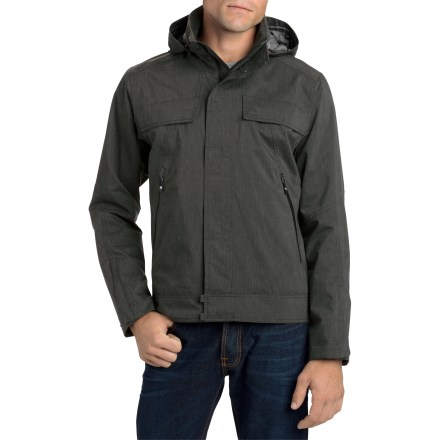Protection from the elements doesn't mean you have to look like a mountaineer. The waterproof Nau Urbane II jacket keeps you looking sharp while shedding rain. 2-layer laminate adds waterproof, windproof and breathable qualities to this stylish jacket. Jacket is seam sealed for complete waterproof protection; Durable Water Repellent coating on the recycled polyester exterior helps shed moisture. Recycled polyester mesh lines the torso area to wick moisture; recycled polyester taffeta lines the hood and sleeves to wick moisture, dry quickly and glide easily over layers. Removable hood comes off easily with a zipper; pull the drawcord to cinch the hood around your head. Store your stuff in the 2 front zippered pockets, 2 zippered chest pockets and 1 rear zippered pocket. Internal zippered pocket stows your cell phone and an internal mesh drop-in pocket holds other key items; routing system lets you listen to tunes while the device stays inside. Windflap covers the front zipper and restricts cold-air entry. Includes a full-length zipper and snaps on the front placket. The Nau Urbane jacket has a regular fit that is not too baggy, not too tight. - $171.83