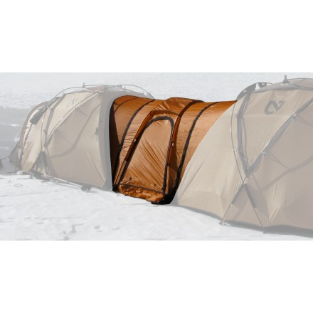 Camp and Hike Enhance the living space between 2 NEMO Moki 3P tents (sold separately) with the Moki Link(TM). Use the Link as a communal meeting space, a versatile entrance, a sleeping area for pets or covered storage for your wet gear. Featuring dual entrances, a floorless interior and a ceiling vent, the Moki Link gives you unprecedented flexibility when extra space is needed. Link is held securely in place by 2 (included) vestibule poles; features a snow skirt for winter conditions. Adds 15.3 sq. ft. and weighs approximately 2 lbs. 6 oz. - $194.93
