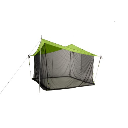 Camp and Hike This straightforward shelter consists of a well-designed tarp and mesh walls. The mesh walls stow securely away or easily drop down for coverage, offering instant no-see-um protection. - $249.95