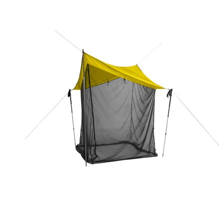Camp and Hike The Bugout(TM) Elite by NEMO is a simple shelter consisting of a well-designed tarp and mesh walls. The mesh walls stow securely and drop down easily to offer instant no-see-um protection. - $139.83