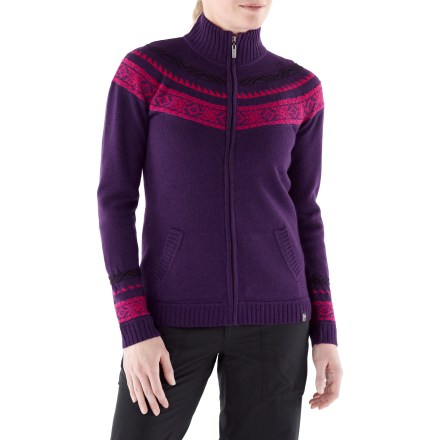 The Neve Karin full-zip sweater is supremely soft and dense, and provides unmatched quality, comfort and warmth. Made of ultrafine merino wool, the Neve Karin sweater insulates, wicks away moisture and breathes-naturally! Features hand pockets. Hand wash cold; lay flat to dry. - $124.93