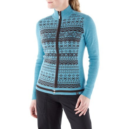 The Neve Kay Full-Zip sweater offers colorful Nordic stripes that beautifully envelop you in style and comfort. Made of ultrafine merino wool, the Neve Kay sweater insulates, wicks away moisture and breathes-naturally! Hand wash cold; lay flat to dry. - $124.93