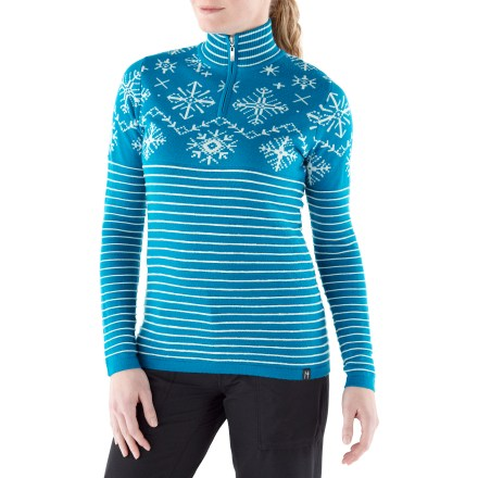 The Lila Zip-Neck sweater features an intricate ottoman raised ribbing and a beautiful snowflake pattern, converging sport and style. Made of ultrafine merino wool, the Neve Lila sweater insulates, wicks away moisture and breathes-naturally! Hand wash cold; lay flat to dry. - $71.83