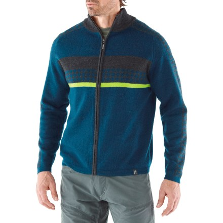 The Neve Gabe Full-Zip sweater has a modern look that's great for winter adventures. Made of soft merino wool, this sweater insulates, wicks away moisture and breathes-naturally. Full-zip front allows easy on and off. Machine wash in cold water and lay flat to dry. - $46.83