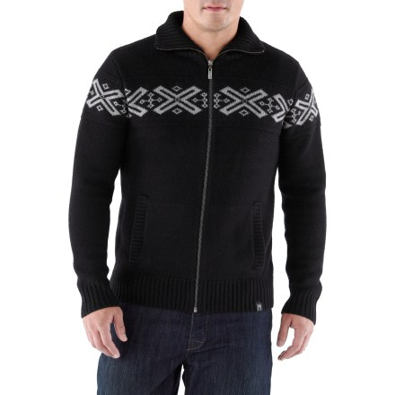 The Neve Ryan Full-Zip sweater has a handsome pattern on the chest to keep you in style on urban adventures. Made of soft merino wool, this sweater insulates, wicks away moisture and breathes-naturally! Hand pockets help keep your fingers warm. Hand wash in cold water and lay flat to dry. - $123.83