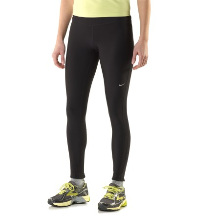 Fitness The Nike Filament running tights keep your legs snug and dry from warmup to cooldown for year-round running comfort. Dri-FIT(R) polyester on body and gusset liner wick moisture to reduce friction and regulate temperature. Elastic waist and internal drawcord customize fit. Zipper back pocket provides secure storage for keys, ID and an energy gel. Reflectivity on lower legs adds visibility when running in the dark. Lower leg zips make for easy on-and-off access, so you won't break a sweat getting the Nike Filament running tights on. - $55.00
