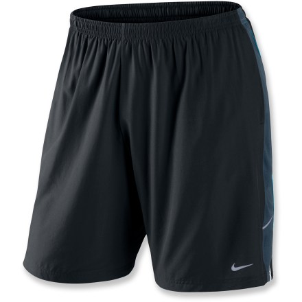 Fitness Plenty of coverage and a comfortable liner make the Nike Nine-Inch running shorts a perfect solution for everyday workouts. Dri-FIT(R) fabric delivers high-tech moisture management to keep you cool and dry, and it feels soft and comfortable against your skin. Liner briefs wick moisture and dry quickly, and mesh side panels enhance ventilation. Elastic waist with internal drawcord delivers a personalized fit. 2 on-seam pockets store small items. Reflective strips increase visibility. The Nike Nine-Inch running shorts offer a relaxed fit. - $27.93