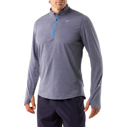 Fitness The men's Nike Element Half-Zip top offers the comfort you need to get out there, run hard and earn some endorphins. Lightweight Dri-FIT(R) fabric helps keep you comfortable by moving sweat off your skin for rapid evaporation. Half-length zipper allows on-demand ventilation; windflap wraps the top of the zipper to protect chin from abrasion. Fabric panels under arms vent excess body heat. Thumbholes keep sleeves in place when arms are in motion and enhance warmth. Use the reflective loop at the back of the neck to corral your music-player earphone cord. Flatlock seams reduce chafing and increase comfort. Nike Element Half-Zip top increases visibility in dim light with reflective highlights. - $60.00