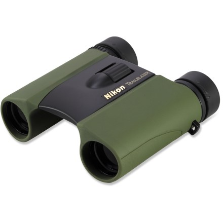 Camp and Hike The compact Nikon Trailblazer ATB 8 x 25 binoculars offer great light transmission with multi-coated lenses and wet-weather performance with a waterproof and fogproof design. Ergonomic styling is mated with a rubber-armored exterior, providing added shock resistance and a firm grip whether wet or dry. All lens and prism elements incorporate Nikon Eco-Glass(TM), made without the use of arsenic or lead. All lenses are coated with multiple layers of anti-reflective compounds for excellent light transmission. Large, central focus wheel and adjustable diopter make it easy to bring objects into focus, even while wearing gloves. Turn-and-slide rubber eye cups and long eye relief allow binoculars to be used comfortably while you're wearing glasses. Wide field of view makes the Nikon Trailblazer ATB 8 x 25 binoculars great for bird watching, travel, sports spectating and nearly any outdoor adventure. - $95.00