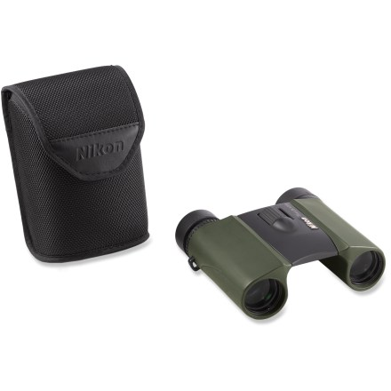 Camp and Hike The Nikon Trailblazer SMU 10 x 25 binoculars have an REI-exclusive color, multi-coated lenses and weatherproof performance for all-purpose use during your outdoor adventures. Lenses and prisms incorporate Nikon's Eco-Glass(TM), made without the use of arsenic or lead. Lenses are coated with multiple layers of anti-reflective compounds for maximum light transmission. Nitrogen-filled and O-ring sealed body helps ensure waterproof and fog-proof performance. Large, central focus wheel and adjustable diopter make focus easy to achieve and maintain, even while wearing gloves. Turn-and-slide rubber eyecups and long eye relief allow the binoculars to be used comfortably by eyeglass wearers. The Nikon Trailblazer SMU 10 x 25 binoculars feature ergonomic styling mated with a rubber-armored exterior, providing shock resistance and a firm grip. - $100.00
