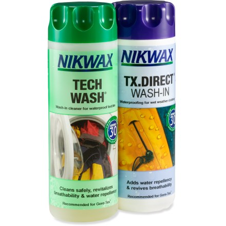 Camp and Hike This high-performance, low-impact Nikwax hardshell cleaner and waterproofing duo pack maximizes the performance of your technical waterproof / breathable outerwear. - $20.75