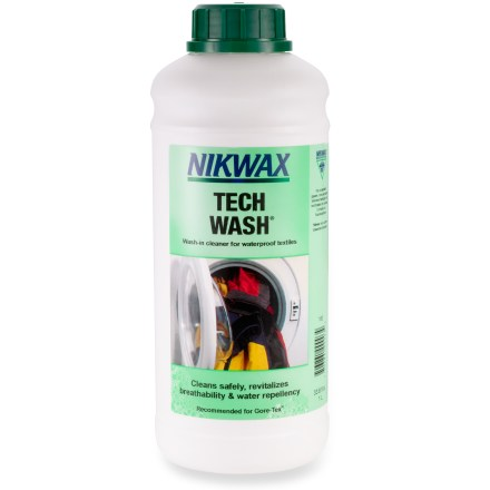 Camp and Hike Easy-to-use Nikwax Tech Wash effectively removes dirt and stains from your wet-weather clothing and equipment while also safely revitalizing breathability and water repellency. - $26.50