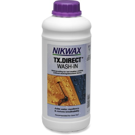 Camp and Hike Restore water repellency to your rainwear with the easy-to-use Nikwax TX Direct 2.0 wash-in formula for wet-weather clothing. - $34.00