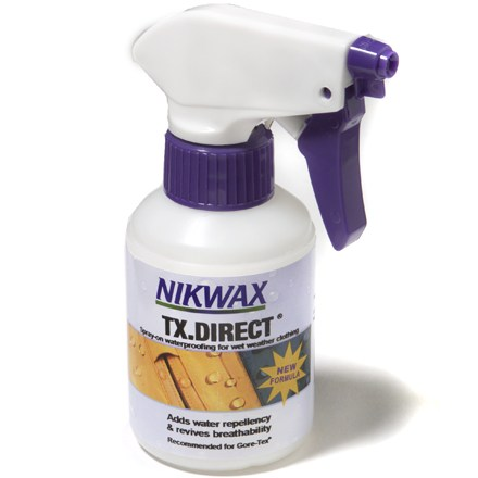 Camp and Hike Easy-to-use Nikwax TX.Direct 2.0 spray-on water-repellent treatment is a safe, non-aerosol spray that restores durable water repellency of your wet-weather clothing. - $9.00