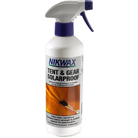 Camp and Hike Add water repellency, strength and UV resistance to tent canopies, rainflys, packs and other gear with the easy-to-apply Nikwax Tent and Gear Solarproof waterproofing spray. - $18.25