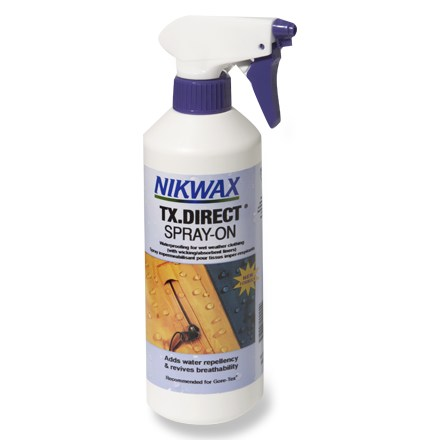 Camp and Hike Apply the easy-to-use Nikwax TX.Direct spray-on water-repellent treatment to revive water repellency without adversely effecting your wet-weather clothing's breathability. - $21.50