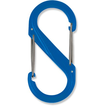 The inventive Nite Ize Plastic S-Biner double-clip carabiner, available here in a medium size, offers a great way to manage your keys and other items. Dual hook design with opposing gates allow you to easily link 2 objects together. Nite Ize Plastic S-Biner features durable plastic construction and secure gate closures. - $0.93