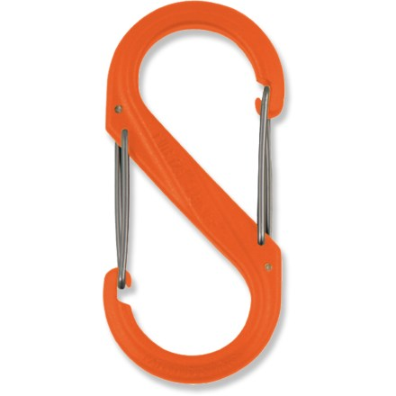 The inventive Nite Ize Plastic S-Biner double-clip carabiner, available here in a large size, offers a great way to manage your keys and other items. Dual hook design with opposing gates allow you to easily link 2 objects together. Nite Ize Plastic S-Biner features durable plastic construction and secure gate closures. Comes in assorted colors only; sorry, specific color requests cannot be accommodated. - $0.93