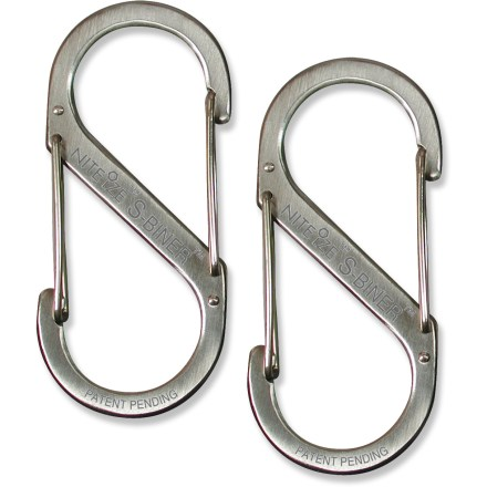The Nite Ize Stainless-Steel S-Biner Size 1 is a unique double-clip carabiner that offers a great way to manage your keys or other items. - $4.25