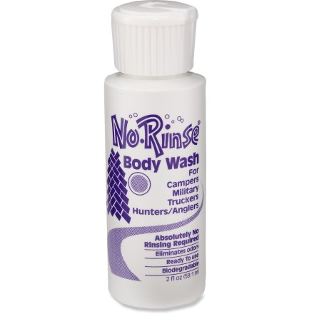 Camp and Hike Stay clean and smell fresh while traveling the world or trekking through the mountains with this 2 fl. oz. bottle of No Rinse body wash. - $1.50