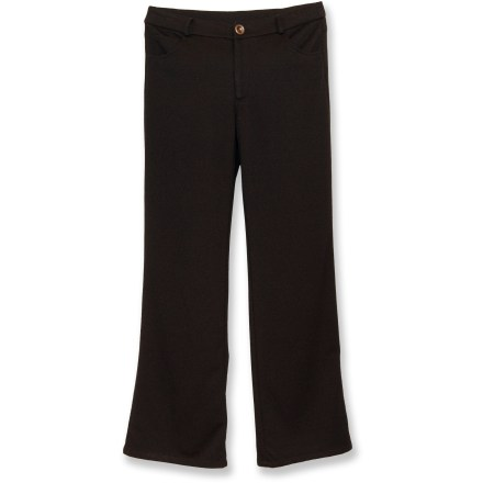 Camp and Hike The Nomadic Traders Ponti Boot-Cut jeans are a great choice if comfort and style are a must. Polyester/rayon blend fabric features a touch of spandex to move with you. Zippered fly with button closure; 5-pocket design. Boot cut design. Closeout. - $20.73