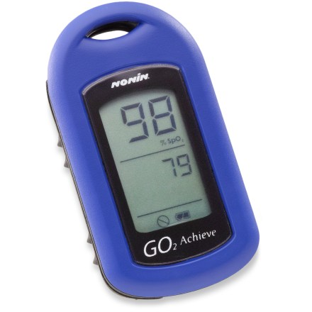 Fitness Accurately measure your oxygen saturation and heart rate during exercise with the Nonin GO. GO. Individuals who need a pulse oximeter due to a medical condition should contact a physician. Monitoring the oxygen saturation of your blood along with heart rate can help you get the most out of workouts and keep you healthy when flying or trekking at high altitudes. Maintaining an oxygen saturation between 90% to 98% during activities will keep you performing at your best. Simply slip the oximeter onto your finger to check your oxygen saturation and pulse while on the go. 2 separate light beams shine into the blood circulating in your finger; the light beams reflect the amount of oxygen in the blood, which is expressed as a percentage. Compact size lets you take it on hikes and runs or keep in a handbag. Accommodates a finger size range from 0.3 in. to 1 in. Operates on 1 AAA battery (included), which provides up to 2,400 spot checks. - $73.93