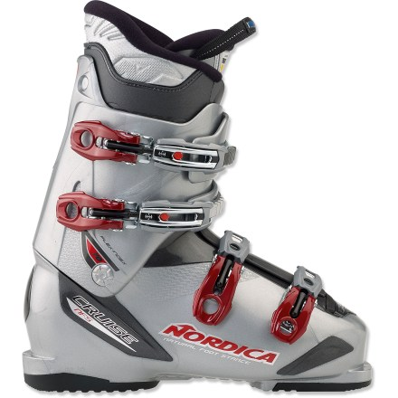 Ski The Nordica Cruise 70 ski boots keep your feet comfortably secure as you cruise the groomers, explore the runs and enjoy your day on the mountain. Dual-density plastic maximizes ease of entry regardless of temperature; even if you have high insteps, getting your foot in the boot is hassle free. Soft shell flaps make it easy to get your foot in the boot; no more standing on 1 foot, hunching over, forcing your instep between 2 unforgiving, pinching plastic flaps. Liners snugly wrap feet in cushioning foam; closed-cell foam against the shells enhances warmth. Liners provide a personalized fit when custom molded. Footbeds optimize foot position to create an effortless skiing stance, and they offer easy support for comfortable wear all day long. Upper buckle features a ladder that changes position to ease closure of the top portion of the boot; ladder changes position without the use of tools. Top of the boot a little tight? Cuffs feature an adjustable hex nut that increases the circumference of the top of the boot by 3 - 5mm. 30mm power strap adjusts cuff for snugness and pressure against the shins. Extra-wide last accommodates forefoot measurements up to 104mm. With a flex index of 70, Nordica Cruise 70 ski boots provide light resistance against a forward lean, appropriate for most novice skiers. - $149.93