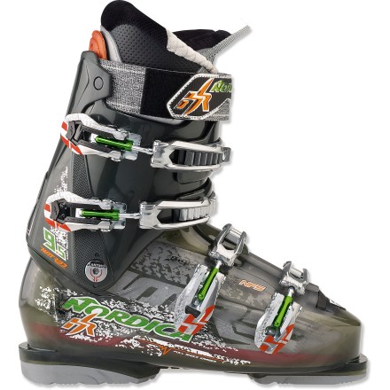 Ski Nordica Hot Rod 9.5 ski boots offer cushioning, a high level of versatility and enough comfort to push it run after run. They're perfect for those who see the entire mountain as a playground. - $179.83