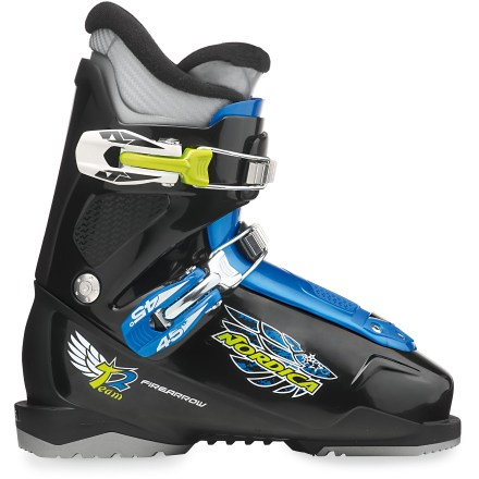 Ski The kids' Nordica Firearrow Team 2 ski boots offer the comfort they'll need to stick with it and enjoy their time on the slopes. The Nordica Firearrow Team 2 kids' ski boots feature a 3-piece shell construction that makes it easier for kids to get their feet into boots. Boots flex lightly at first, then as pressure increases on tongues during turn, the resistance increases and enhances precision. After flexing, boots return to upright position, setting skis up for the next turn. Even if boots are sized with some room to grow, the middle buckles clamp down on feet at a 45deg angle to keep heels securely seated. Junior liners feature soft padding and a warm faux-fur lining. Loop on tongues aids in putting the boots on and taking them off. Buckles are microadjustable, so young skiers can dial in the fit for comfort and performance. - $109.00