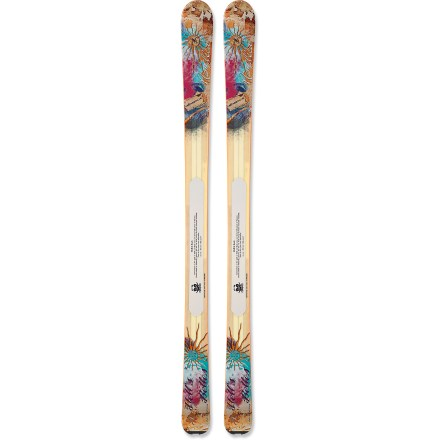 Ski The women's Nordica Hell's Belles let you choose any terrain on the mountain and ski it with confidence. If you love to ski on and off piste, and you occasionally hike for your turns, these skis will move to the front of your lineup. 90mm waist offers excellent flotation in the deep stuff and provides relatively quick edge-to-edge maneuverability. Flexible wood and composite core produces a ski that's lightweight and easy to use while hiking, yet provides responsive power on fast descents. Women-specific wood and composite core is lighter than the men's version and can be viewed through the clear topsheet of the skis. Nordica Hell's Belles skis feature an early rise tip that resists diving into deep snow and makes it easy to initiate turns. Tip rocker extends 255mm from snow contact point. Standard camber underfoot enhances maneuverability on groomers and crud. Base or topsheet color may vary from online photo. Requires bindings with wide brakes. - $454.83