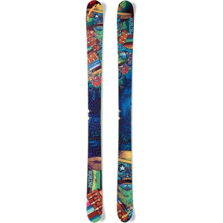 Ski The powder-loving Nordica Patron skis let you bring your bag of freestyle tricks into the backcountry. Built for days that take you all over the mountain, these skis excel in powder and they'll hold their own on variable terrain. 113mm waist offers incredible flotation in deep powder. Powerful wood core with glass and carbon reinforcements produces a lightweight ski with playful responsiveness. Patron skis feature an early rise tip and tail that resist diving into deep snow and make it easy to ski backward. Tip rocker extends 420mm from snow contact point and tail rocker extends 400mm from snow contact point. Low, broad nose extends over the snow just enough to enhance flotation without becoming really noisy and vibrating on groomed terrain at high speeds. Standard camber underfoot enhances maneuverability on groomers and variable snow; when weighted, 50% of the ski contacts the snow. Cambered and rockered profile enhances handling in deep snow, making it easy to take advantage of every feature on the mountain. Directional twin-tip taper slightly favors skiing forward, but it also lets you ride switch and land jumps backward. Nordica Patron skis require bindings with wide brakes. Base or topsheet color may vary from online photo. - $749.00
