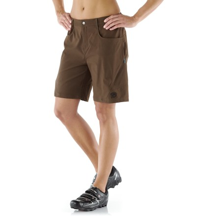 Fitness These women's Novara Bonita double-layer mountain bike shorts withstand trail abuse, and their stretch-mesh liner and built-in chamois ensure comfort. - $33.83
