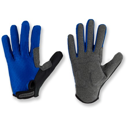 Fitness Novara Bike gloves keep hands comfortable on mild-weather rides. Stretch nylon fabric offers a flexible fit, while faux suede palms offer a great grip on handlebars. Foam padding on palms is strategically placed in high-impact areas for increased shock absorption and protection. Rip-and-stick cuffs for easy on. Special buy. - $9.83