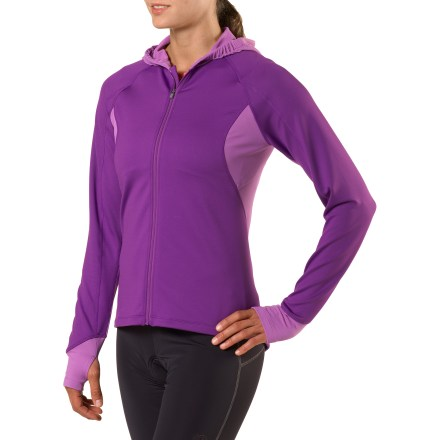 Fitness Defying the cool weather, our breathable women's Novara Arosa long-sleeve bike jersey disperses moisture to keep you riding in comfort. For comfort over the long haul, Arosa is made of a breathable, 4-way-stretch blended fabric with a soft inner face that wicks away moisture and dries quickly. Warmer, thicker fabric in the front takes brunt of the weather; thinner fabric on the backside enhances wicking and breathability. Slim, under-helmet hood keeps your head warm and the wind off of your ears; thumbholes on cuffs allow stay-put coverage for hands. Full-length front zipper allows ventilation control and easy on/off. Princess seams contour at waist for a flattering fit. 3 back pockets handle your gear; 2 are easy access stash pockets and 1 is a secure zip pocket for cash and ID. - $40.93