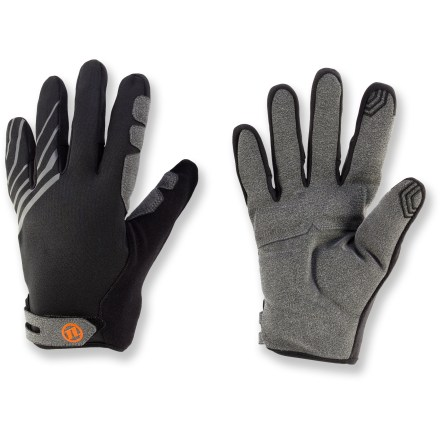 Fitness The Novara Arosa Tech Compatible cycling gloves add a thin layer of protection from the bite of cool-weather riding and let you use your touch-screen phone without removing them. Conductive material at the tips of the thumbs and index fingers allows you to send text messages and operate your touch screen phone without having to take your gloves off. Foam padded palms help cushion and protect hands from the vibrations of rough roads; reinforced thumb and forefinger panels enhance durability. Fleece thumbs mop up brow moisture. Reflective detailing across back of hands increases your visibility in low light. Novara Arosa Tech Compatible cycling gloves feature rip-and-stick wrist closures for a snug fit. - $23.93