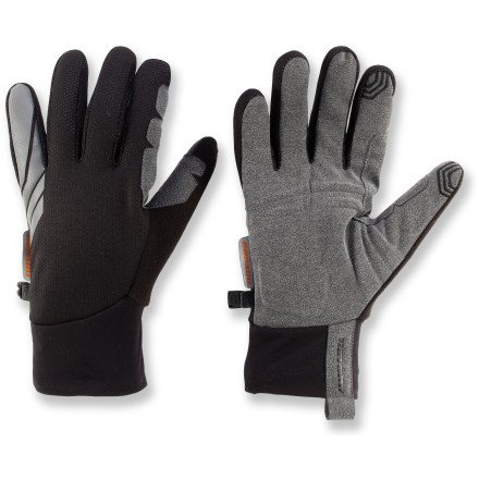 Fitness The sleek, windproof Novara Headwind Tech Compatible bike gloves protect and insulate hands from brisk winter weather. Bonus: keep your gloves on while operating that smartphone bike app! Conductive material at the tips of the thumbs and index fingers allows you to send text messages and operate your touch screen phone without having to take your gloves off. Polyester laminate fabric blocks wind and repels water; microfleece lining and stretch cuffs retain valuable heat. Padding in synthetic leather palms cushions and protects hands from the vibrations of rough roads; reinforced thumb and forefinger panels enhance durability. Fleece thumbs mop up brow moisture. Reflective detailing increases your visibility in low light. - $19.83