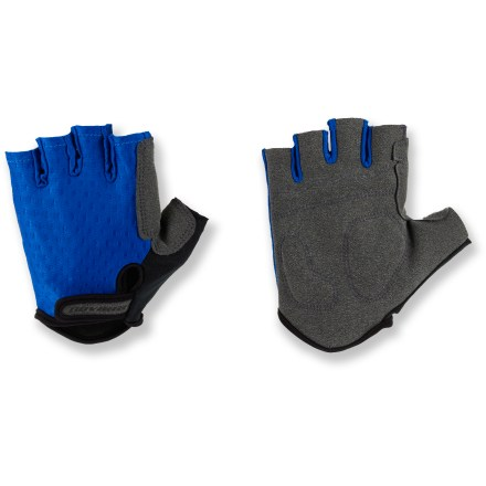 Fitness Novara Fingerless Bike gloves conform to your hands and help protect you from road shock. Stretch nylon fabric offers a flexible fit, while faux suede palms offer a great grip on handlebars. Foam padding on palms is strategically placed in high-impact areas for increased shock absorption and protection. Rip-and-stick cuffs for easy on. Special buy. - $8.83
