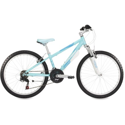 MTB Our Novara Moxie 24 in. girls' bike is well-suited to adventure, thanks to a plush suspension fork, versatile tires and 21 speeds that make it easy for her to forge ahead on her own. - $238.93