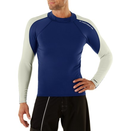 Surf The NRS HydroSkin paddling shirt offers warmth and protection during chilly paddles. 0.5mm Terraprene(TM) neoprene offers great insulation and 4-way stretch. Cropped-fleece inner lining increases insulation, and outer layer of fabric offers 4-way stretch. Titanium laminate reflects body heat back to you. Durable Water Repellent finish causes water to bead up and roll off. Flatlock seams reduce chafing; spandex panels under arms enhance freedom of motion. Hand wash the NRS HydroSkin paddling shirt in cold water and hang to dry. - $94.95