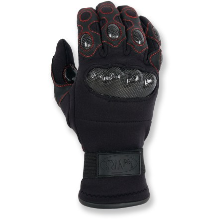 Kayak and Canoe Throw down the gauntlet-style NRS Creek paddling gloves on knuckle-busting waters and see who comes out on top. Your knuckles will make it through the run unscathed thanks to carbon-fiber armor panels. Cushy and flexible 2mm neoprene make the NRS Creek paddling gloves a great choice in cold water. High-wear areas on gloves features synthetic leather reinforcements with a polyurethane coating. Super grippy palm and thumb areas offer excellent control. Rip-and-stick tab helps seal out water. - $69.93