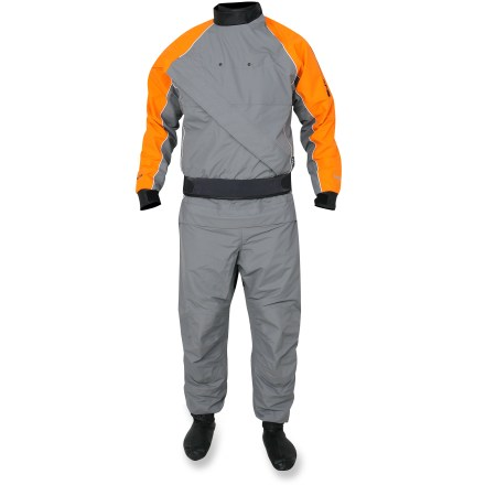 Kayak and Canoe Stay warm and dry in this deluxe Inversion drysuit from NRS, featuring a rugged overskirt, relief zipper and built-in latex socks to keep you living the good life on the water. Highly breathable, waterproof TriTon(TM) nylon is soft enough for all-day comfort, but tough enough for longevity you can count on; taped seams ensure waterproof protection. Because you remain dry on the inside, the likelihood of an uncomfortable, post-exercise chill is eliminated. Waterproof front-entry zipper eases dressing; relief zipper speeds pit stops. Latex neck and wrist gaskets ensure a quality seal, and built-in latex socks help keep your feet warm. Overskirt features a wide neoprene band and double-pull rip-and-stick closure that fits over your sprayskirt tunnel to complete a watertight seal. Cordura(R) nylon reinforces seat area and an extra layer of TriTon fabric increases durability of other high-wear areas. Sleeve pocket on the NRS Inversion drysuit keeps small essentials close at hand. - $559.83